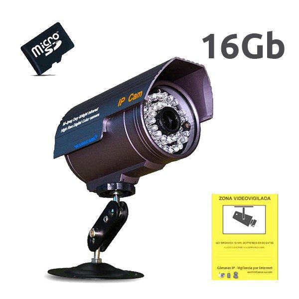 WANSCAM HW0027 16GB WANSCAM CAMARA IP EXTERIOR HW0027 16Gb VISION NOCTURNA SLOT MICRO SD PARA GRABACION