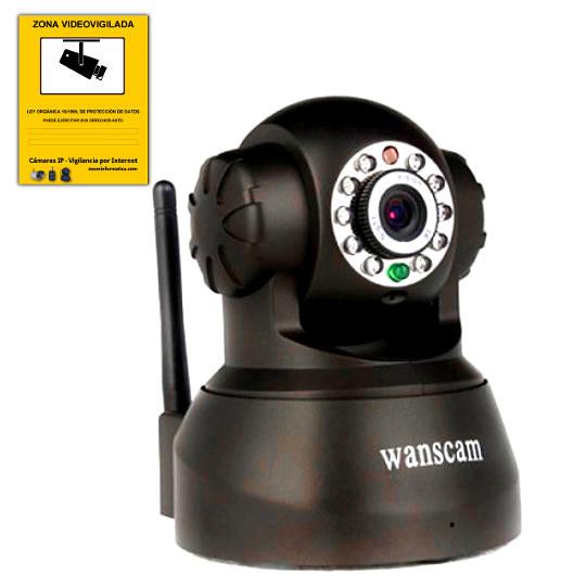Wanscam JW0008 Camara IP Negro WiFi P2P motorizada vision remota movil APP