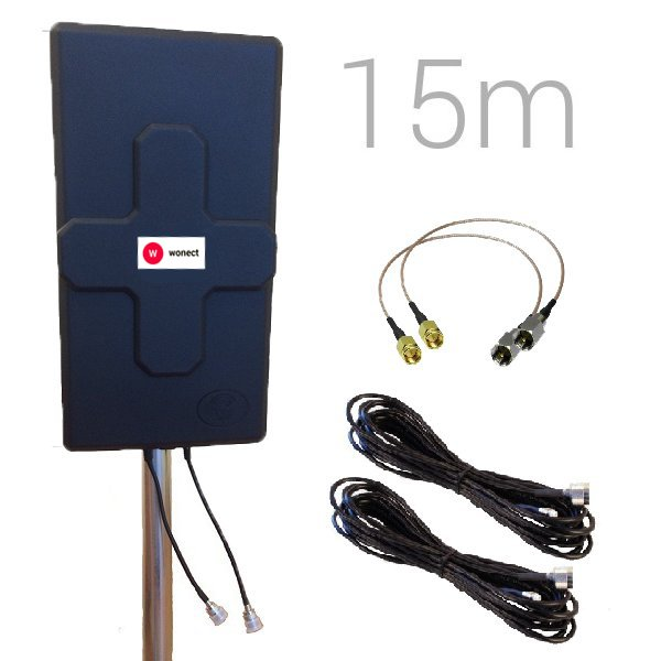 Antena 4G Panel 50dBi LTE Largo alcance Exterior Conector N Hembra Pigtail 15 metros SMA