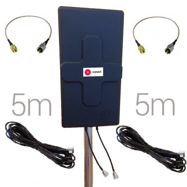 Antena 4G Panel 50dBi LTE Largo alcance Exterior Conector N Hembra Pigtail 5 metros SMA