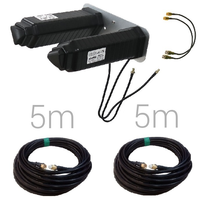 THETA YAGI 4G 46DBI SMA 5M Antena yagi 46dbi 4G conector SMA hembra negra 5 metros SMA B310
